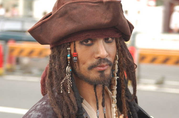a man impersonating jack sparrow