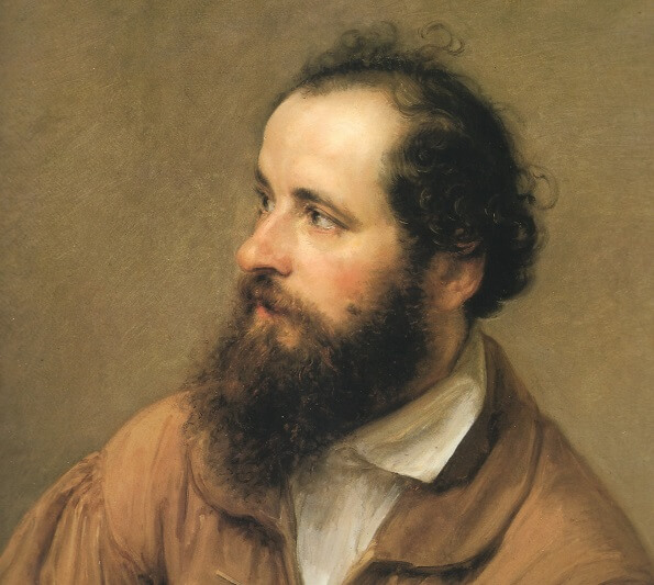 a painting of a man with long beard