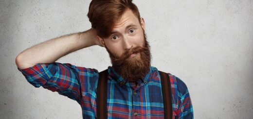 a hipster young man with long beard