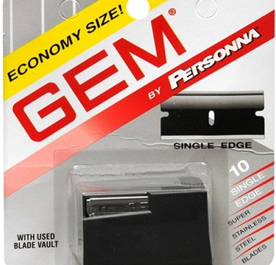 a GEM by Personna single edge blades box
