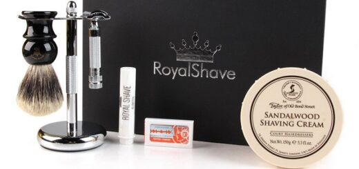 a complete fancy shaving set