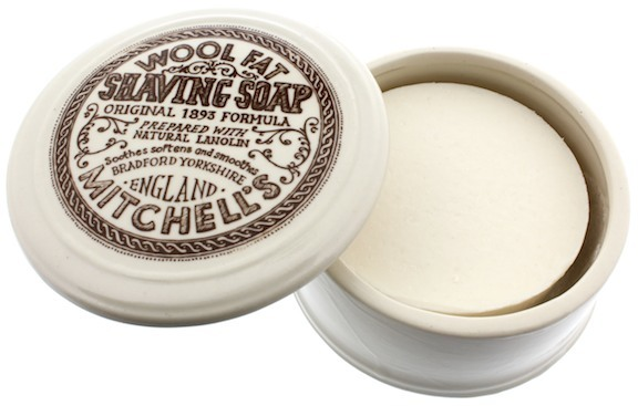 a Mitchell's wool fat shaving soap