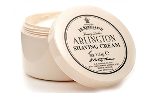 a pink container of D. R. Harris Arlington Shaving Cream