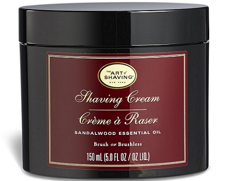 a black container of The Art of Shaving - Shaving Cream in Sandalwood