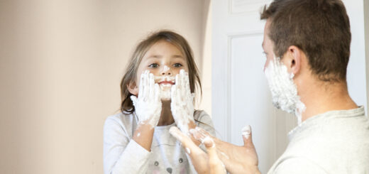 girl with shaving lather on face