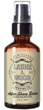 a bottle of Leather & Wood classic alcohol free after shave