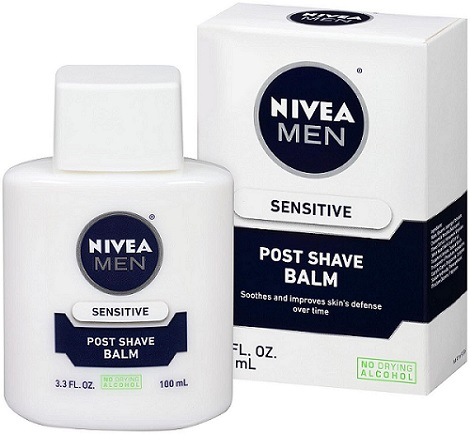 a bottle and packaging of NIVEA FOR MEN Sensitive Post Shave Balm