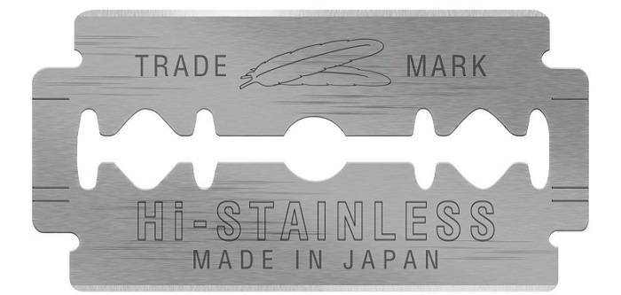 one single stainless steel Feather razor blade