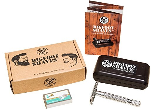 a vintage-looking 3-Piece Double Edge Single Blade Safety Razor Kit for Men by Bigfoot Shaves