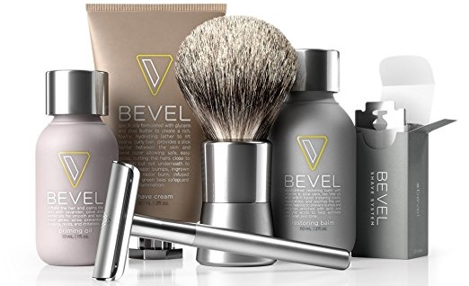 a modern silver Bevel Shave System Kit
