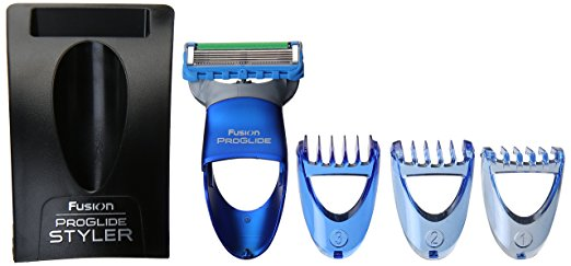 a blue Gillette Fusion ProGlide Men's Razor Styler 3-In-1 Body Groomer and Beard Trimmer set