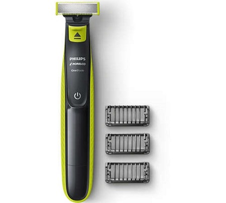 a black with green stripes Philips Norelco OneBlade