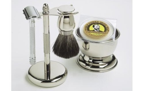 a Shaving Gift Set with Merkur Safety Razor, Bowl, Shaving Soap, Badger Brush, Stand and Safety Razor