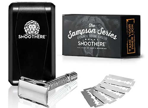 a black and silver Smoothere Double Edge Safety Razor Kit for Men + 5 Premium Blades, Travel Case & Mirror