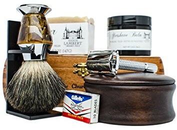 the Ultimate Shaving Kit Set with Organic Shaving Soap and aftershave balm
