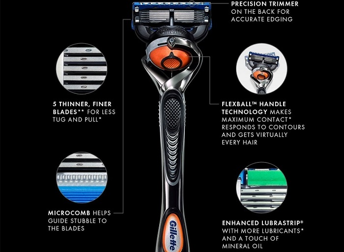 Gillette Fusion ProGlide Flexball technology features on a black background