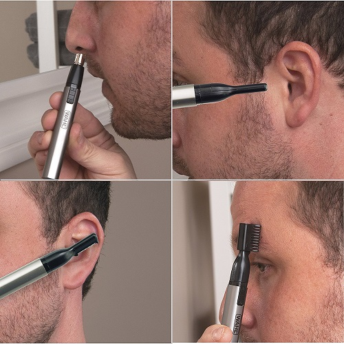 same man in four different instances trimming nose hair, sideburns, ear hair, and eyebrows with Wahl's Lithium Micro Groomsman Trimmer