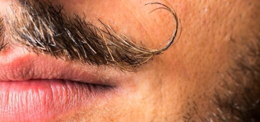 close up on a handlebar mustache